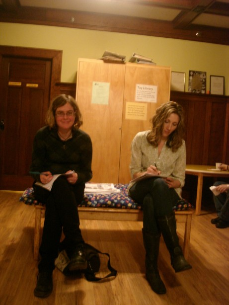Our hosts, Sara and Jane, doing some social writing